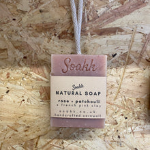 Load image into Gallery viewer, Rose + Patchouli + French Pink Clay Natural soap on a rope