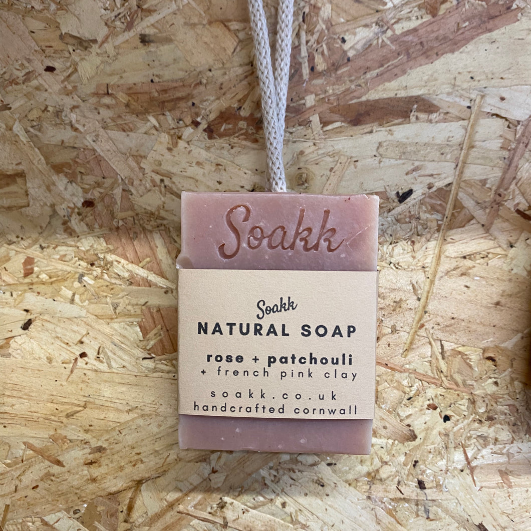 Rose + Patchouli + French Pink Clay Natural soap on a rope