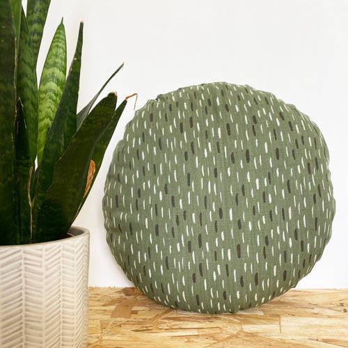 Art Round Cushion - Green