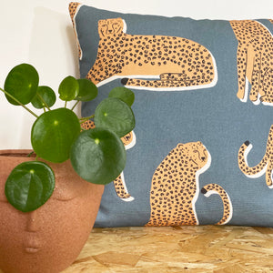 Leopard Cushion - Denim Blue