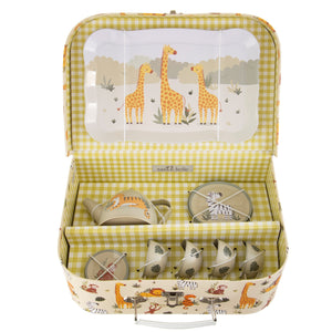 Savannah Safari animals Tin Tea Set