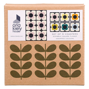 Scribble Square Flower Coaster x6 Set