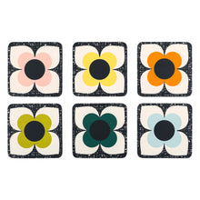 Load image into Gallery viewer, Scribble Square Flower Coaster x6 Set