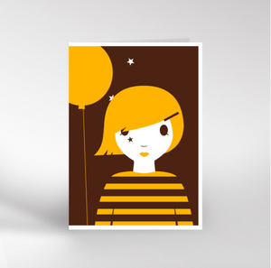 Yellow Balloon Girl Card