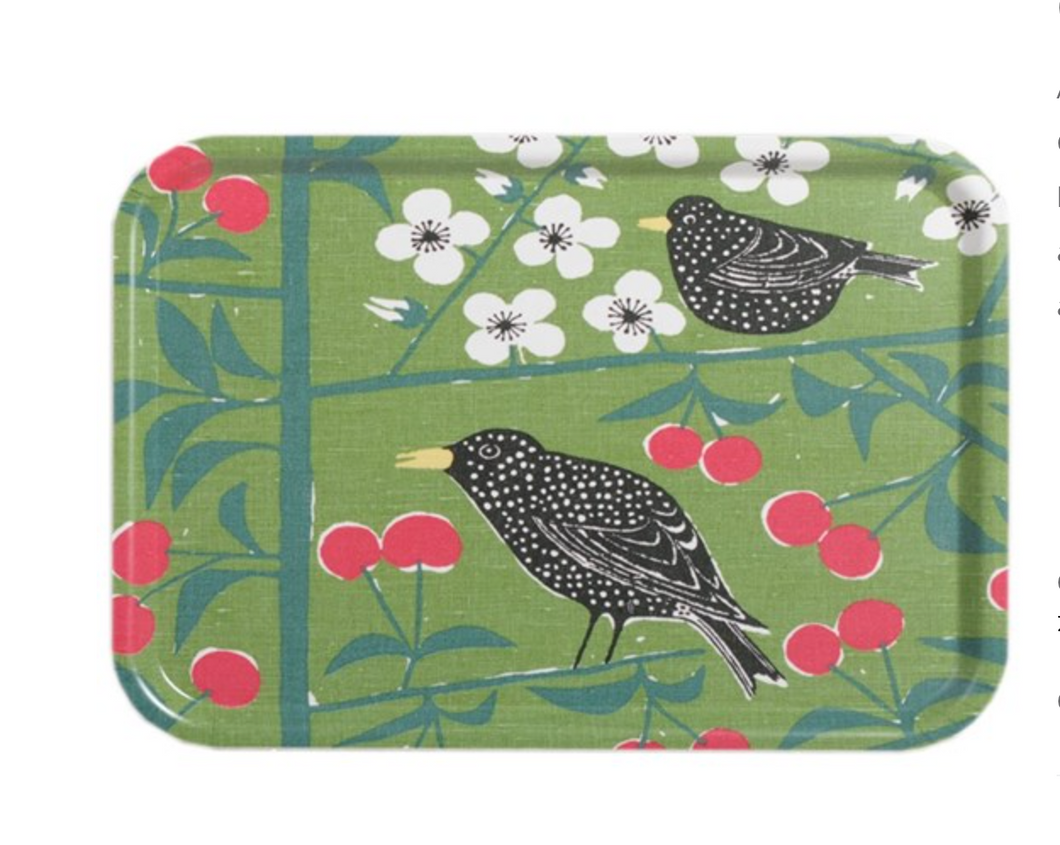 Cherry Bird Large Birch Tray. -Green