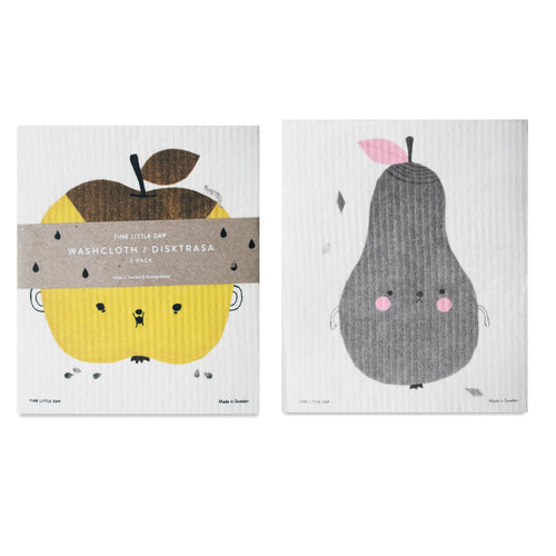 Apple + Pear Swedish Dish Cloth x2 set