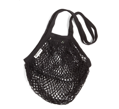 Long Handled Organic Cotton String Bag - Black