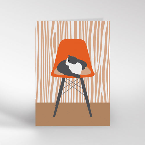 Cat On Chair Greetings Card