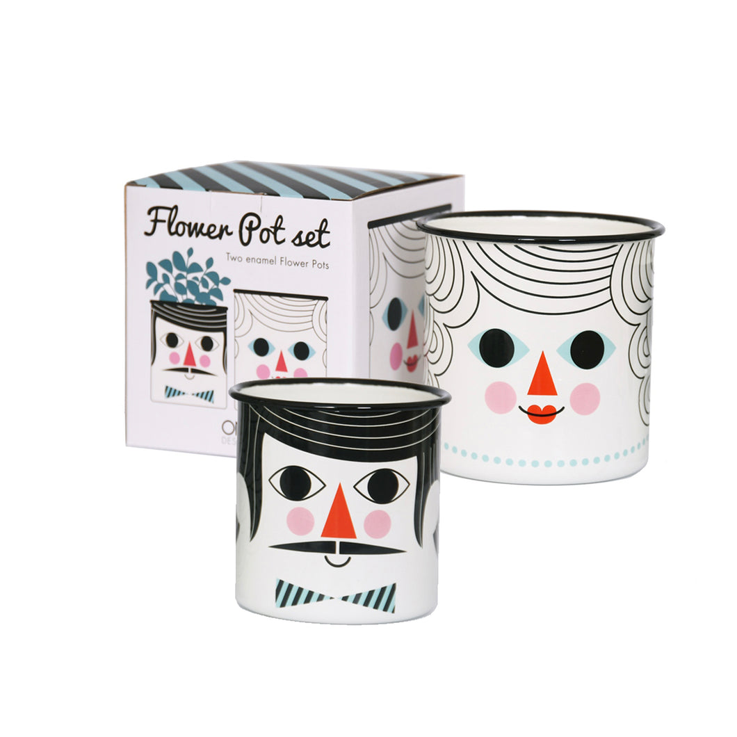 Flower Pot Couple Enamel Pot Set