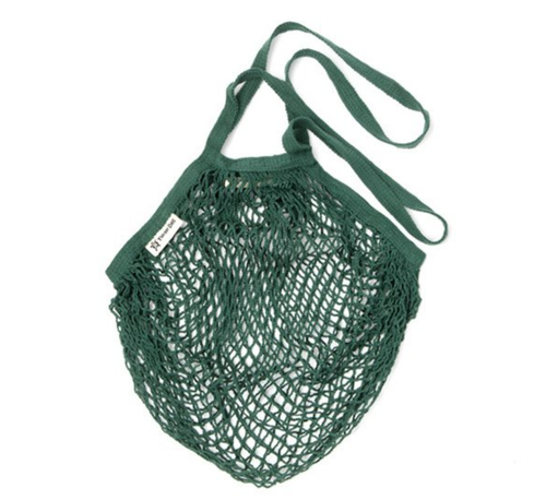 Long Handled Organic Cotton String Bag - Bottle Green
