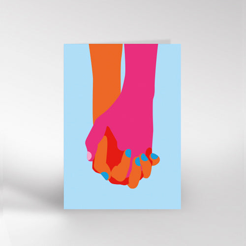 Holding Hands Blue Greetings Card