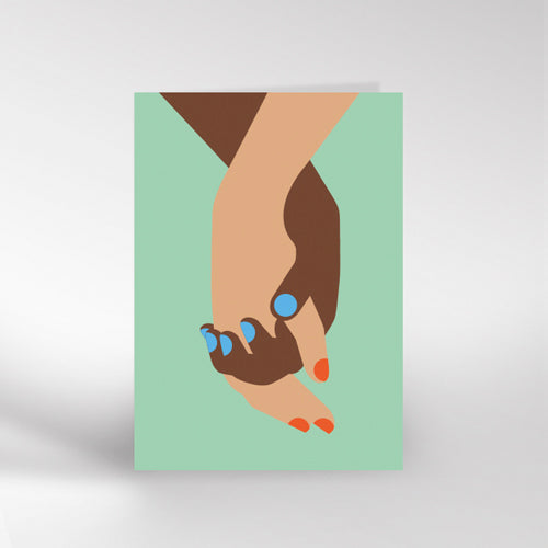 Holding Hands Green Greetings Card