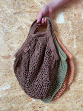 Load image into Gallery viewer, Short Handled Organic Cotton String Bag - Cocoa