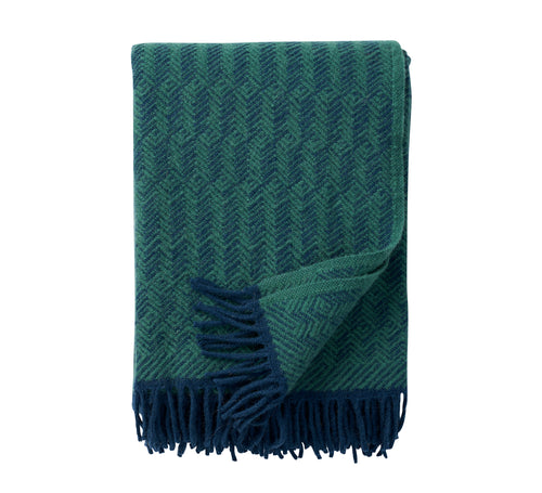 Tage wool throw/blanket - Dark Blue/Green