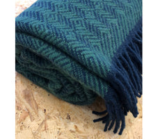 Load image into Gallery viewer, Tage wool throw/blanket - Dark Blue/Green