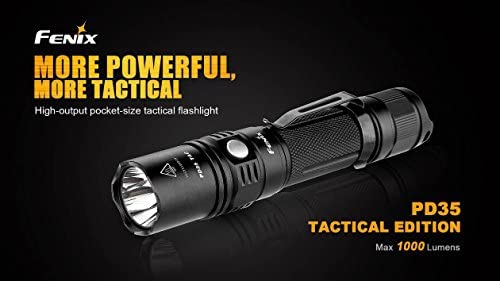 Fenix PD35TAC (PD35 Tactical) 1000 Lumens XP-L LED Flashlight, Fenix ARE-X1 Charger, Rechargeable Battery and LumenTac Battery Organizer