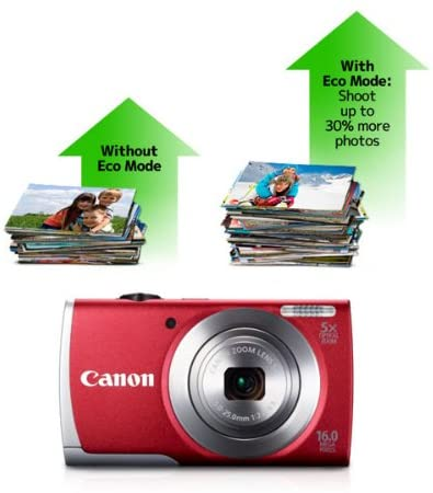 Canon PowerShot A2600 16.0 MP Digital Camera with 5x Optical Zoom and 720p Full HD Video Recording (Red) (OLD MODEL)