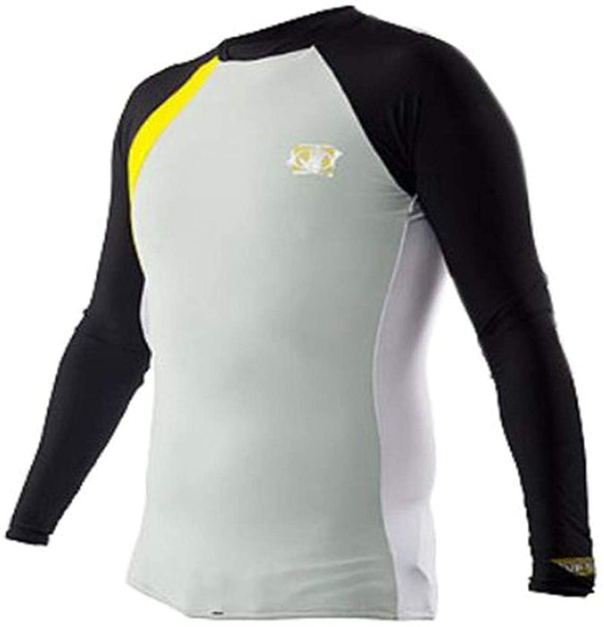 Body Glove Men's Performance Long Arm Rashguard, Small, Silver/Black