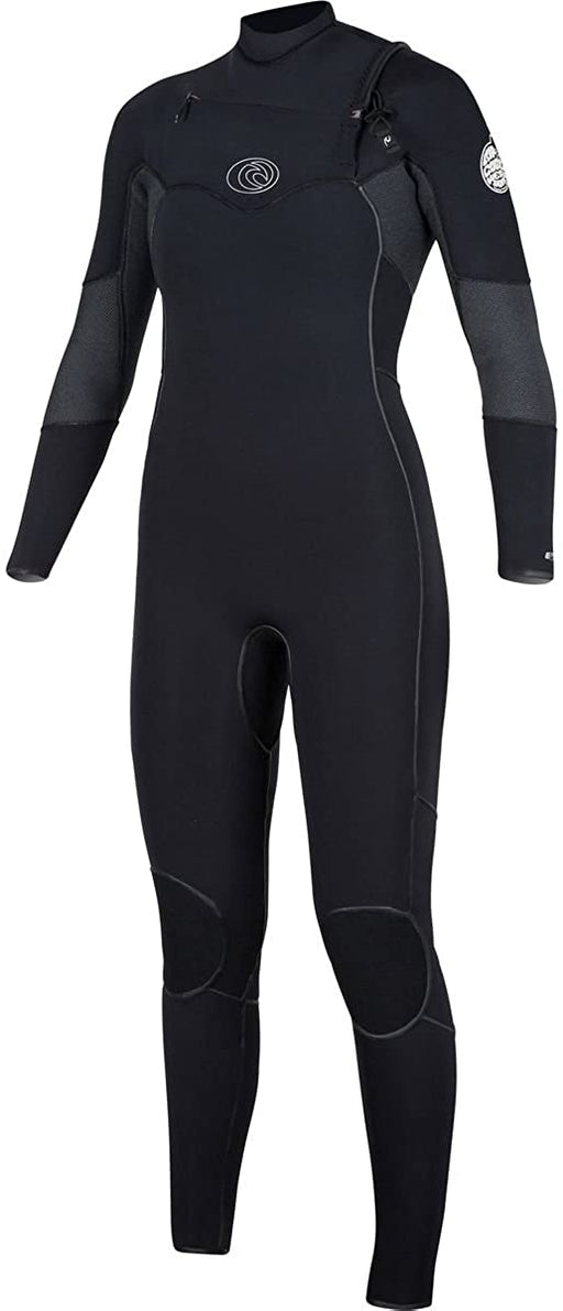 Rip Curl Women's Flash Bomb 3/2 Chest Zip Wetsuit, Black, 8