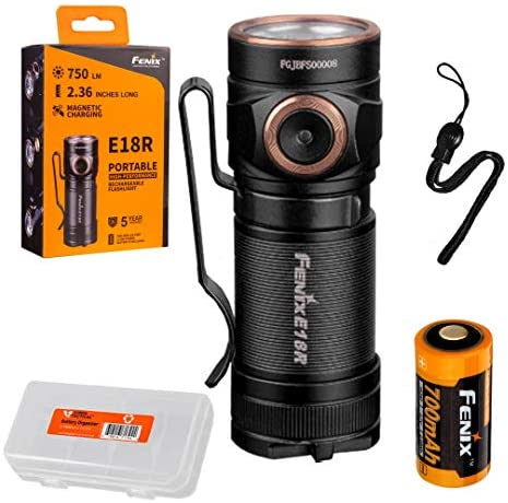 Fenix E18R 750 Lumen Ultra Compact Rechargeable Flashlight with Rechargeable Battery & LumenTac Battery Organizer