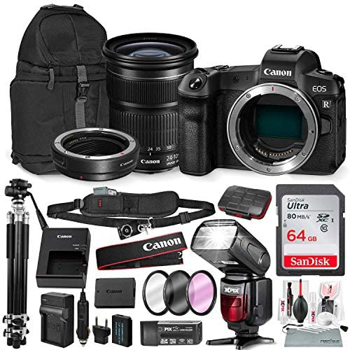 "Canon EOS RP Mirrorless Digital Camera with EF 24-105mm f/3.5-5.6 STM Lens and Mount Adapter EF-EOS R Kit + 64GB & 71"" Tripod & Travel Photo Platinum Bundle"