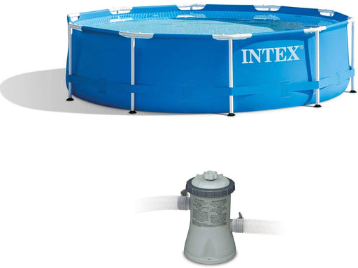 Intex 10 x 2.5 Foot Round Metal Frame Above Ground Pool + 330 GPH Filter Pump