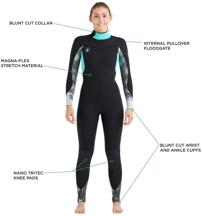 Body Glove Stellar Womens 4/3 MM Back Zip Fullsuit Wetsuit