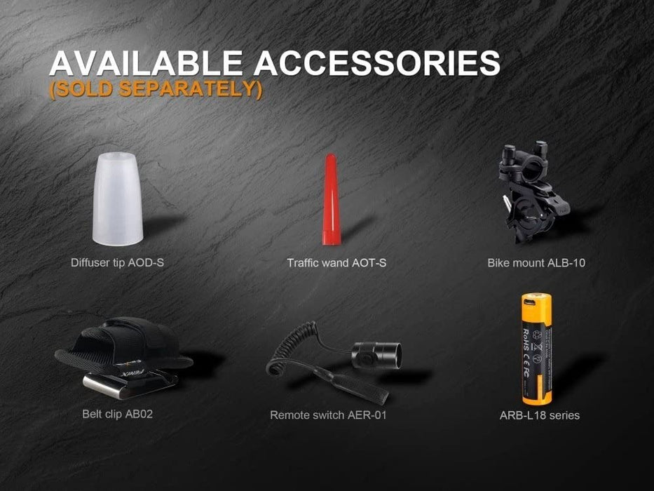 Fenix PD35 V2.0 2018 upgrade 1000 Lumen Flashlight rechargeable bundle with Fenix USB Rechargeable li-ion Battery & EdisonBright battery carry case