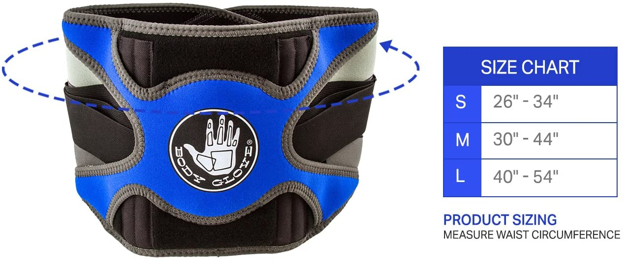 Body Glove Relief Lumbar Compression Support Hot & Cold Therapy Back Support Belt for Back Pain (Blue