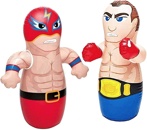 "36"" 2 Pack 3-D Bop Bag Masked Wrestler and Boxer - MMA Fighter Wrestling Kick Boxing Tackle Buddy Punching Bop Bag Fun Kids Indoor Outdoor Toy"