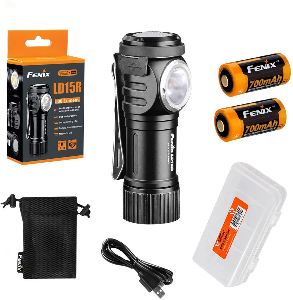 Fenix LD15R 500 Lumen Right-Angle White Red LED Rechargeable Mini Flashlight with 2x Batteries and LumenTac Battery Organizer