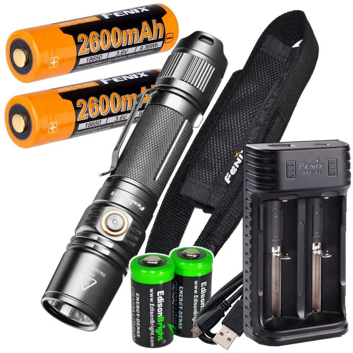 Fenix PD35 V2.0 1000 Lumen 2018 Tactical Flashlight with 2 X Rechargeable Batteries, are-X2 Charger and 2 X EdisonBright CR123A Batteries