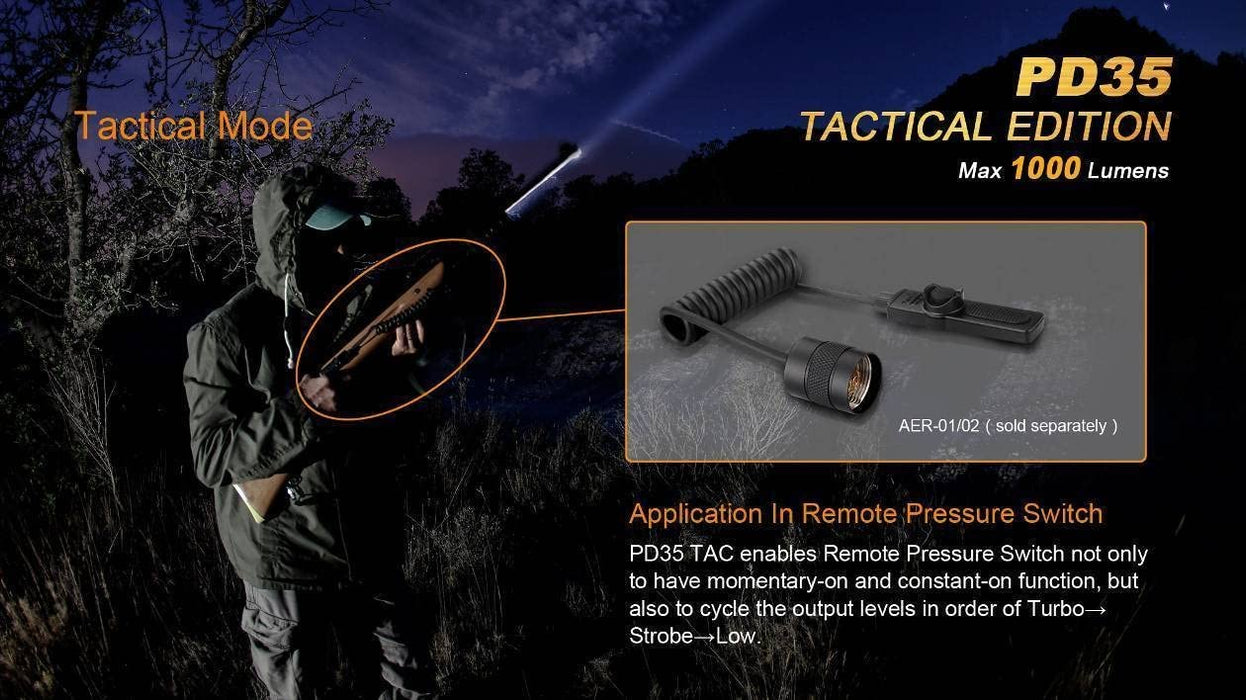 Fenix PD35 TAC 1000 Lumen CREE LED Tactical Flashlight with USB Rechargeable, Weapon Mount kit with EdisonBright USB Charging Cable Bundle