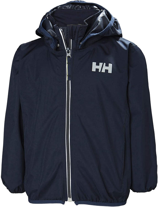 Helly Hansen Kids & Baby Helium Jacket Packable Lightweight Rain Coat, 597 Navy, Size 1