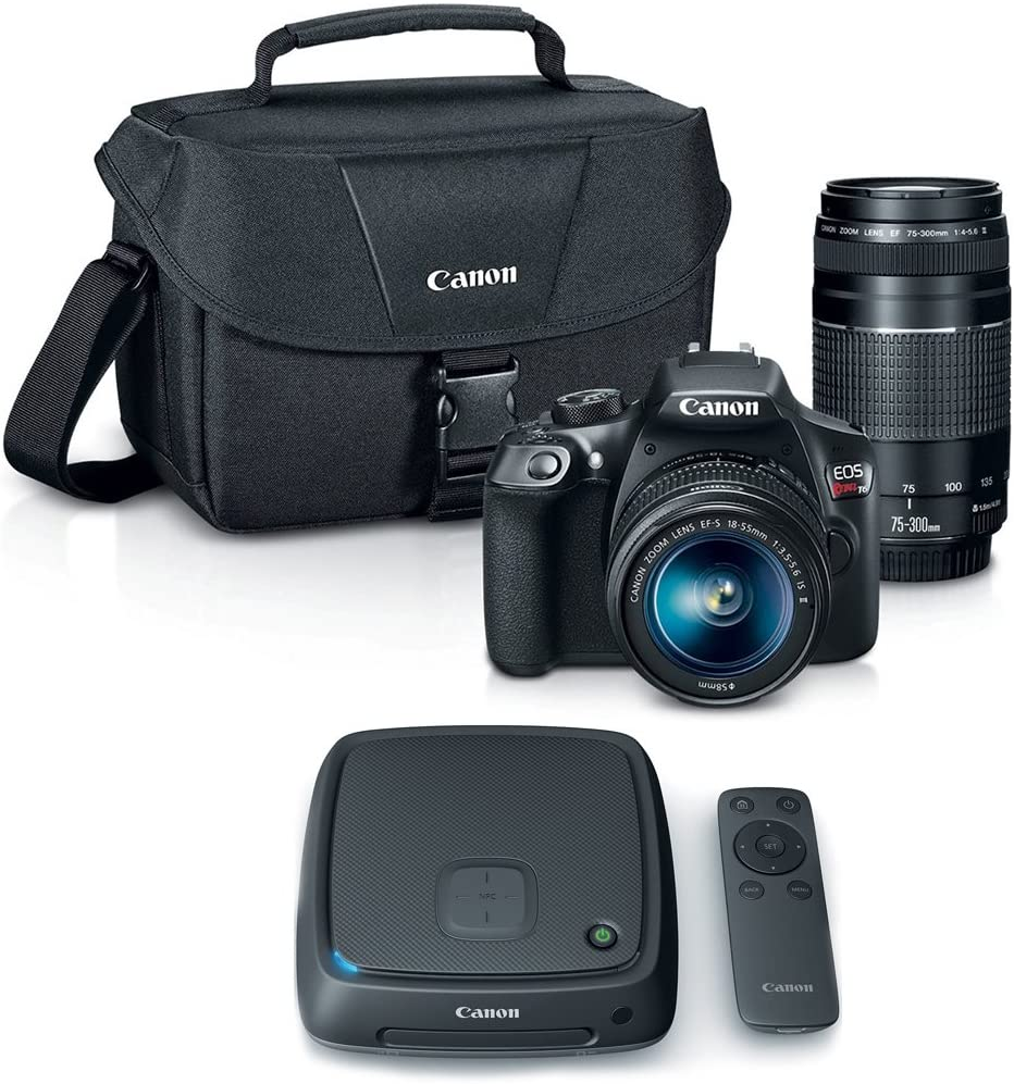Canon EOS Rebel T6 SLR Camera w/ 18-55mm and 75-300mm Lens Kit + CS100 1TB Connect Station Storage Hub Bundle
