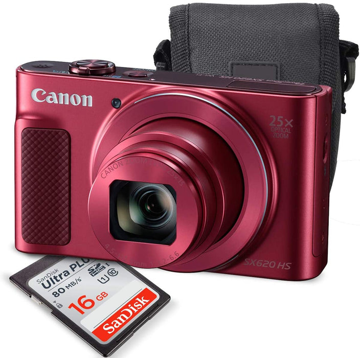 Canon PowerShot SX620 HS Digital Camera (Red) along with 16GB, Deluxe Accessory Bundle and Cleaning Kit
