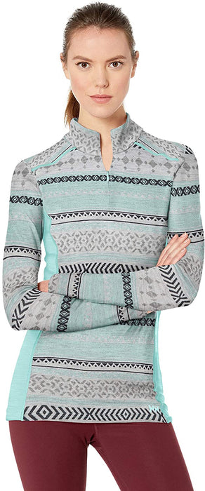 Helly-Hansen Womens Hh Merino Mid Graphic Print 1/2 Zip Lightweight Long-Sleeve Thermal Baselayer Top