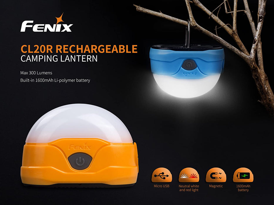 Fenix CL20R 300 Lumens Micro-USB Rechargeable Camping Lantern (Available in Orange or Blue) with Lumen Tactical Micro-USB Charging Cable and Lumen Tactical Cable/Battery Organizer