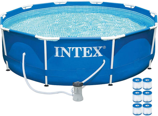 Intex 10ft x 30in Metal Frame Above Ground Pool Set w/ 330 GPH Pump & Filters