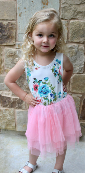 PINK PEACHES -N- CREAM CHILDRENS DRESS - Lulu Kiss