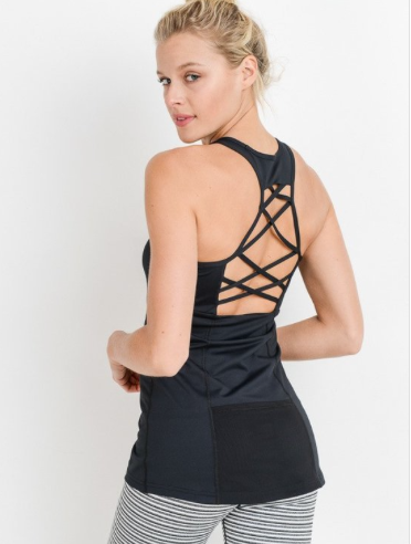 BACK IN BLACK DETAILED RACERBACK EXERCISE TOP - Lulu Kiss