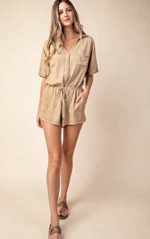 IN MY WORLD  KHAKI ROMPER - LULUKISS Boutique