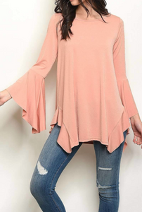 PEACH DREAM BELL SLEEVE TOP - Lulu Kiss