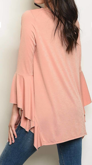 PEACH DREAM BELL SLEEVE TOP - LULUKISS Boutique