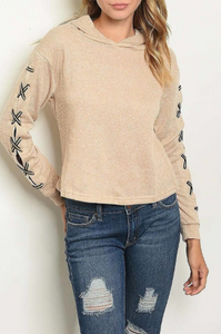 TYLER TIE BEIGE TOP WITH HOODIE - Lulu Kiss