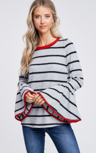 ELAINA LONG SLEEVE STRIPED TOP WITH BELL SLEEVES - Lulu Kiss