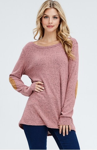 KAMERON BACK BUTTON TRIM SWEATER W/SUEDE ELBOW PATCHES - Lulu Kiss