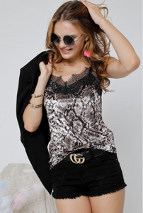 SNAKESKIN SOLID VELVET LACE TRIM CAMI TOP - Lulu Kiss