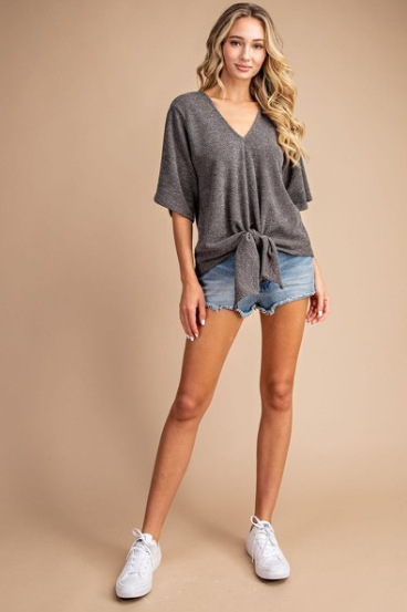 MIMI KNOTTED FRONT V NECK DOLMAN SHORT SLEEES TOP - LULUKISS Boutique