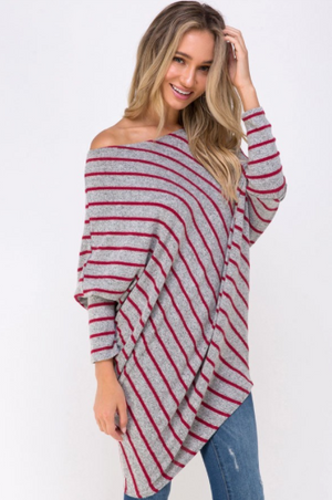 MILLI STRIPED OFF THE SHOULDER TUNIC TOP - Lulu Kiss